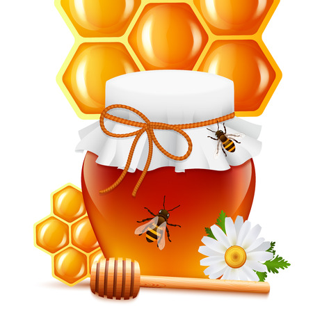 dipper: Sweet natural bee honey in glass jar with dipper daisy and honeycomb background print vector illustration Illustration