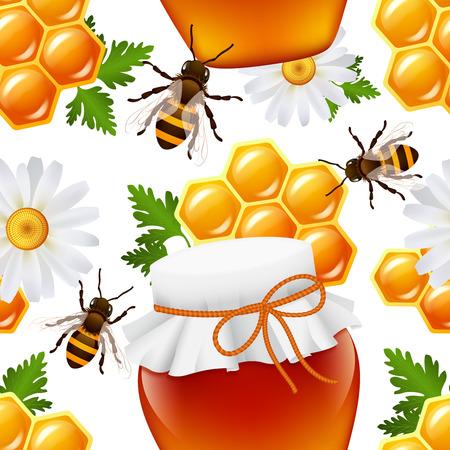 colmena: Ilustración miel decorativo frasco de comida colmena de abejas abejorros margarita panal patrón transparente vector