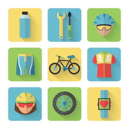 bicycle helmet: Bicycle sport fitness flat icons set with bicyclist water bottle clothes isolated vector illustration Illustration