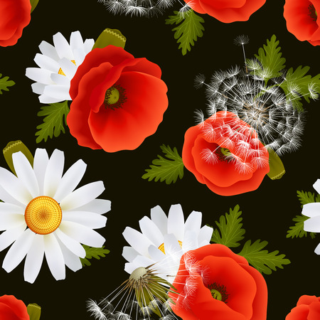 Vibrant floral poppy flowers dandelions and daisies seamless pattern on dark background vector illustration Vector