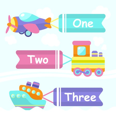 Toy transport cartoon decorative banners set with train boat plane isolated vector illustration Vector