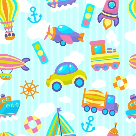cement mixer: Toy transport cartoon seamless pattern with vehicles and clouds stripes on background vector illustration Illustration