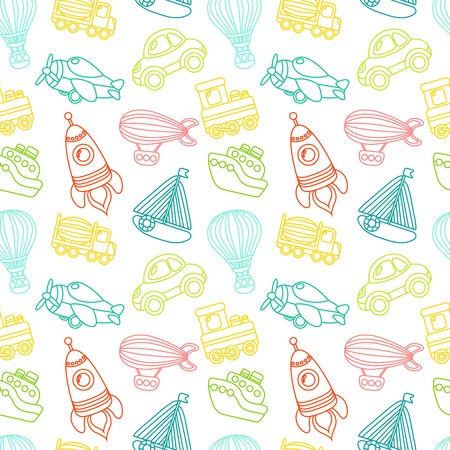 Toy transport outline seamless pattern with car airplane space rocket boat vector illustration Vector