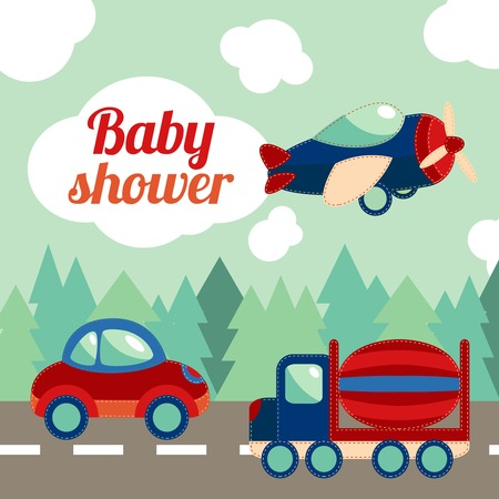 Toy transport on the road with forest on background baby shower invitation card vector illustration. Illustration
