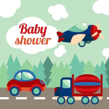 brinquedo: Toy transporte na estrada com a floresta no fundo da ilustração do bebê chuveiro convite cartão vetor.