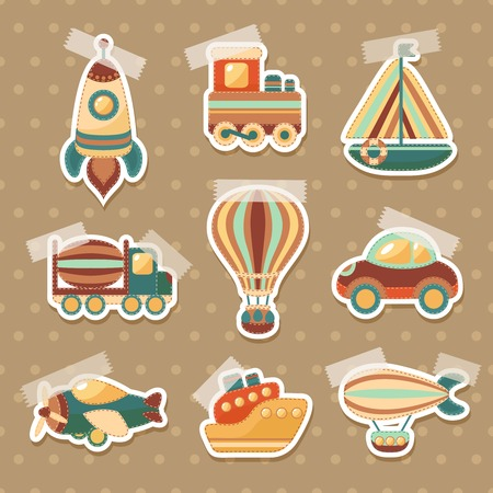 Toy transport colored cartoon stickers set with truck aerostat car isolated vector illustration Vector