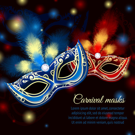 Venetian carnival mardi gras colorful party mask on dark sparkling background vector illustration