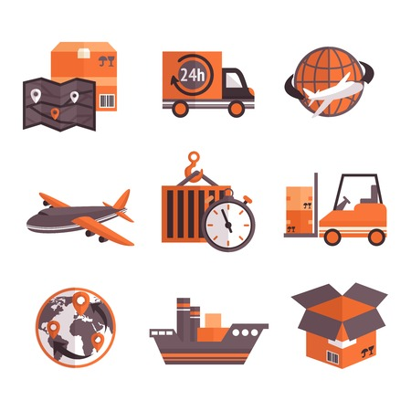 Logistic shipping freight service supply delivery icons set isolated vector illustration Vector