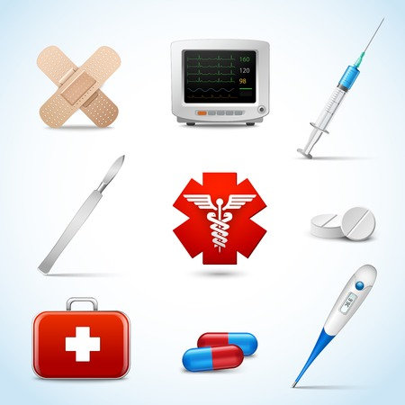 first aid kit: Realistic medical emergency services icons set with capsule sticking plaster scalpel isolated vector illustration.