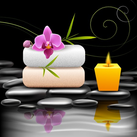 alternative therapy: Realistic spa beauty health care decorative elements on dark background vector illustration