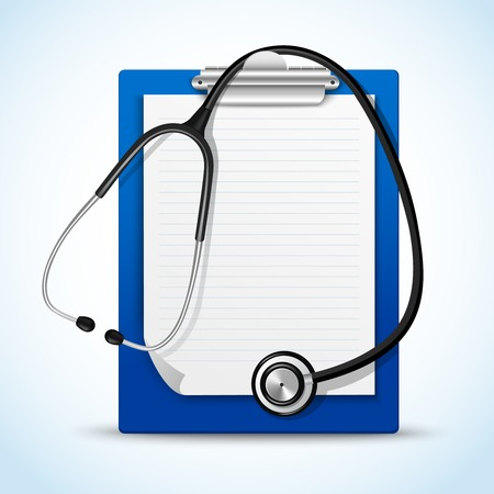 Realistic medical health service stethoscope and clipboard for notes emblem vector illustration Vector