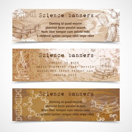 Science education sketch vintage banners with atom dna structure books microscope isolated vector illustration Vector