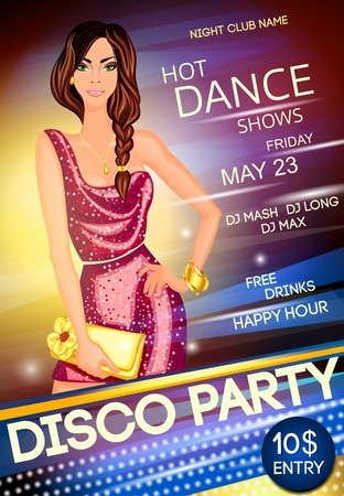 Nightclub disco dancing party advertising event poster with a beautiful sexy girl vector illustration Vector