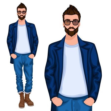 재킷: 청바지 벡터 일러스트 레이 션에 현대적인 헤어 스타일을 가진 젊은 잘 생긴 부담 옷을 입고 힙 스터 괴짜 사람