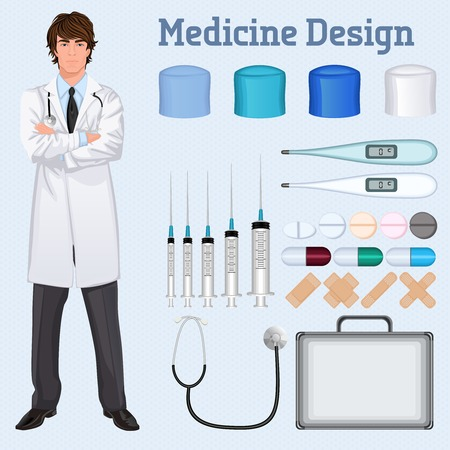 Young handsome healthcare doctor in white lab coat arms crossed with medical accessories set concept poster Vector