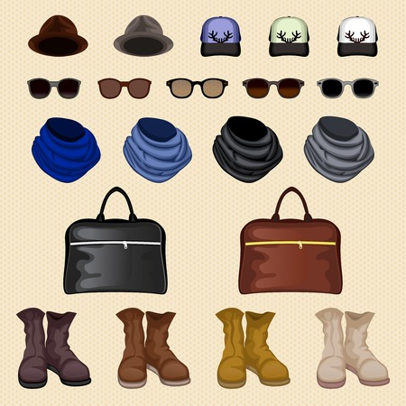 Hipster man male accessories pack design elements isolated vector illustration Vector