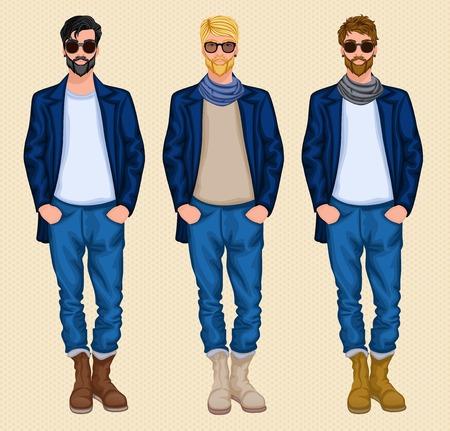 Carattere Hipster di sesso maschile avatar persone set di biondo scuro uomini capelli castani isolato illustrazione vettoriale Vettoriali