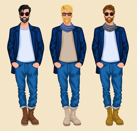 Hipster character male avatar persons set of blond dark brown hair men isolated vector illustration Vector