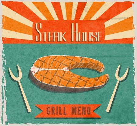 fish steak: Barbecue retro vintage grill restaurant poster with fish steak vector illustration