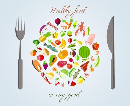 plato del buen comer: Plato de comida saludable hecha de frutas verduras carne y pescado con un tenedor y un cuchillo concepto de ilustración vectorial Vectores