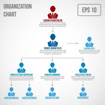 corporate hierarchy: Organizational chart infographic business hierarchy boss to employee structure vector illustration Illustration