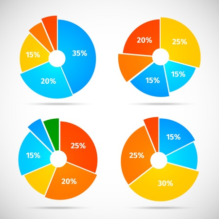 sectors: Colored flat pie chart set template with isolated sectors vector illustration