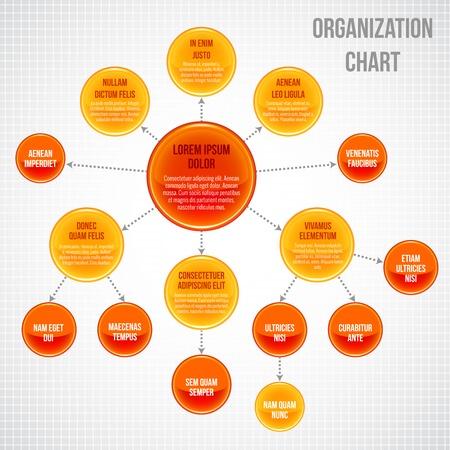 corporate hierarchy: Organigramma infografica affari bolle cerchio processo di lavoro illustrazione vettoriale Vettoriali