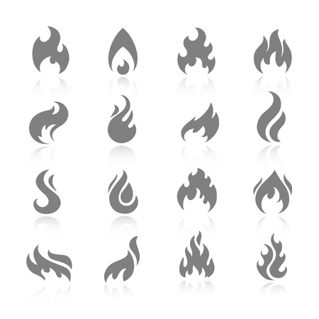 Fire flame burn flare torch shadow icons set isolated vector illustration