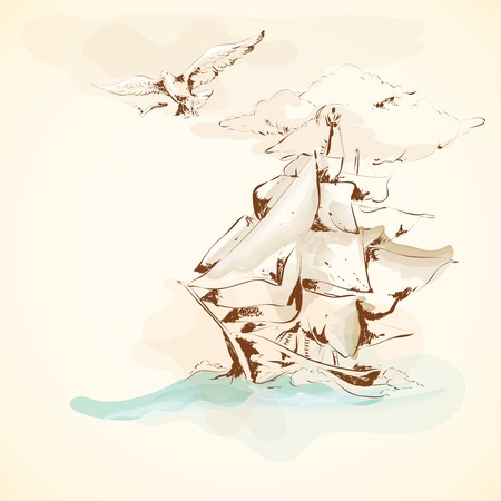 forepart: Sea adventure nautical design ancient sailboat pergament poster with seagull handdrawn vector illustration