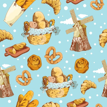 Bakery bread and pastry food hand drawn seamless pattern vector illustrationΠVector