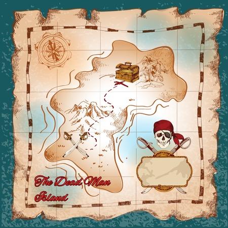 carte trésor: Déchiré papier vintage pirate carte au trésor sur le vecteur de l'île de l'homme mort illustration