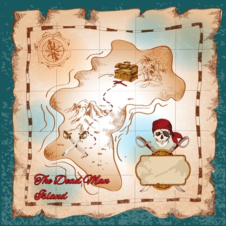Torn paper vintage pirate treasure map on dead man island vector illustration Illustration