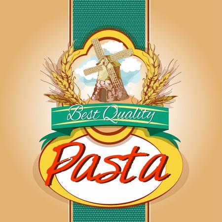 Mejor sabrosa harina de trigo etiqueta del envase de pasta de espagueti calidad con molino de viento emblema ilustración vectorial