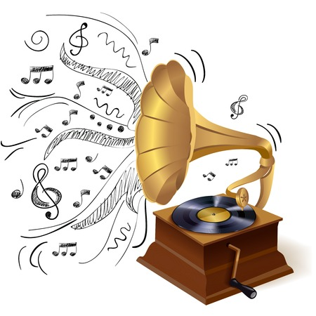 Vintage retro style vinyl gramophone print template with doodle background vector illustration Illustration
