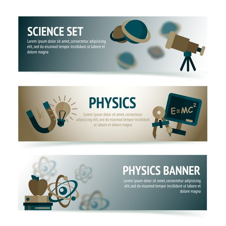 laboratory label: Physics science equipment school laboratory banners set isolated vector illustration