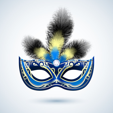 Venetian carnival mardi gras colorful party mask with decoration and feathers vector illustration Vector