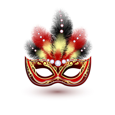 Red venetian carnival mardi gras colorful party mask with decoration feathers and diamonds vector illustration Illustration