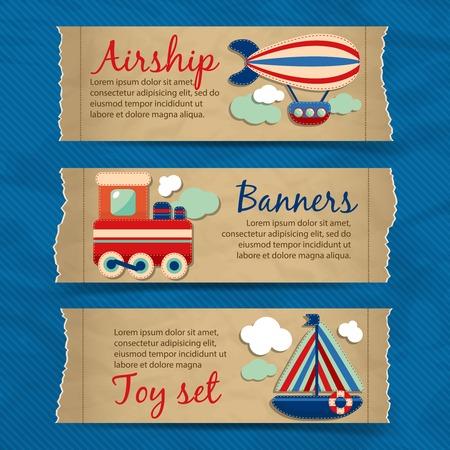 luftschiff: Toy Transport zerrissenes Papier Banner mit Cartoon-Reise Zug Boot aerostat isolierten Vektor-Illustration gesetzt
