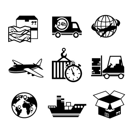supply chain: Logistic shipping freight service supply delivery black and white icons set isolated vector illustration Illustration