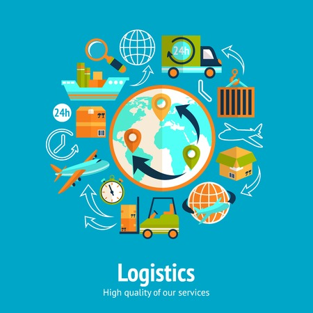 Concetto di catena logistica con globo e il servizio di trasporto di trasporto di fornitura illustrazione vettoriale icone di consegna Archivio Fotografico - 27942181