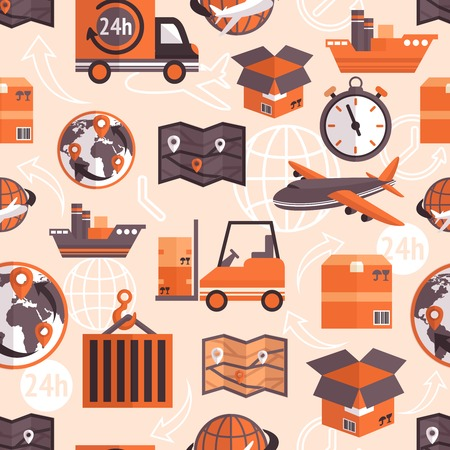 Logistic shipping freight service seamless pattern with globe and arrows on background vector illustration. Vector