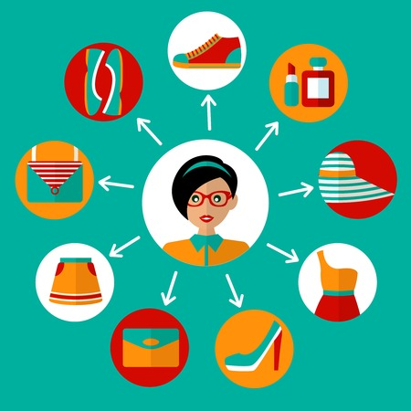 Female fashion stylish casual online shopping icons concept vector illustration Vector