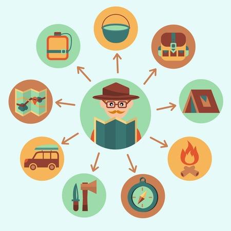 reiziger: Camping zomer outdoor activiteit pictogrammen die met reiziger vectorillustratie