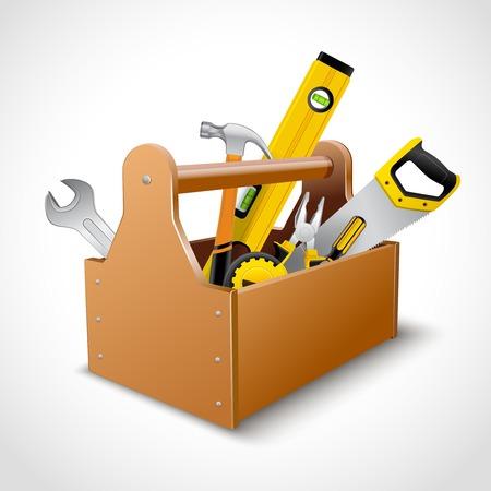 Decorative realistico legno concetto toolbox emblema inserzionista con sega il martello chiave e il livello di illustrazione vettoriale Vettoriali