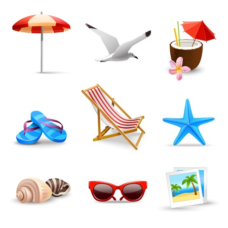 gaviota: Iconos de playa vacaciones de verano junto al mar realistas conjunto aislado ilustración vectorial