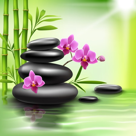massage stones: Realistic spa beauty health care background with bamboo stones orchid vector illustration Illustration