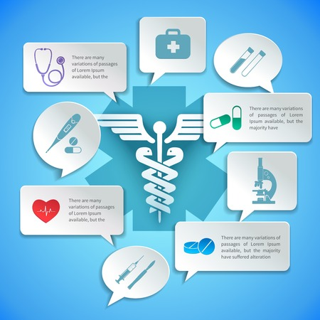 Medical pharmacy ambulance paper infographic with icons and speech bubbles vector illustration. Vector