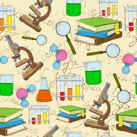 electrons: Science education sketch seamless background with book equation loupe vector illustration