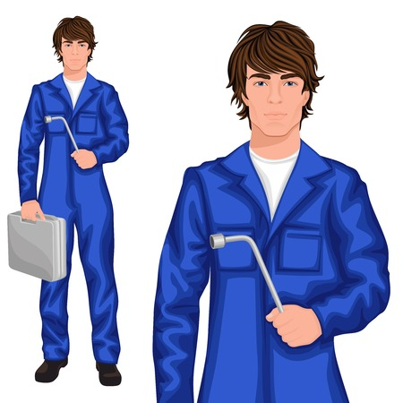 coverall: Young handsome man mechanic worker standing in blue overall with spanner and tool kit case vector illustration