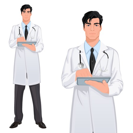 tablet: Medical professional handsome young doctor assistant standing in white lab coat with touch screen tablet PC vector illustration